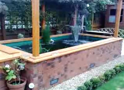A rectangular pond with a roof for Rectangular koi pond